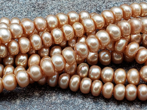 5mm Champagne Button Pearls, 15.75 inch