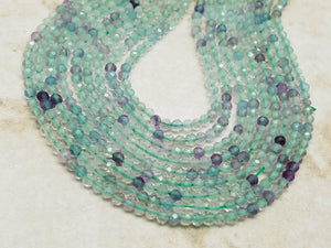 2mm or 3mm Rainbow Fluorite Faceted Round Beads, 15.5 inch