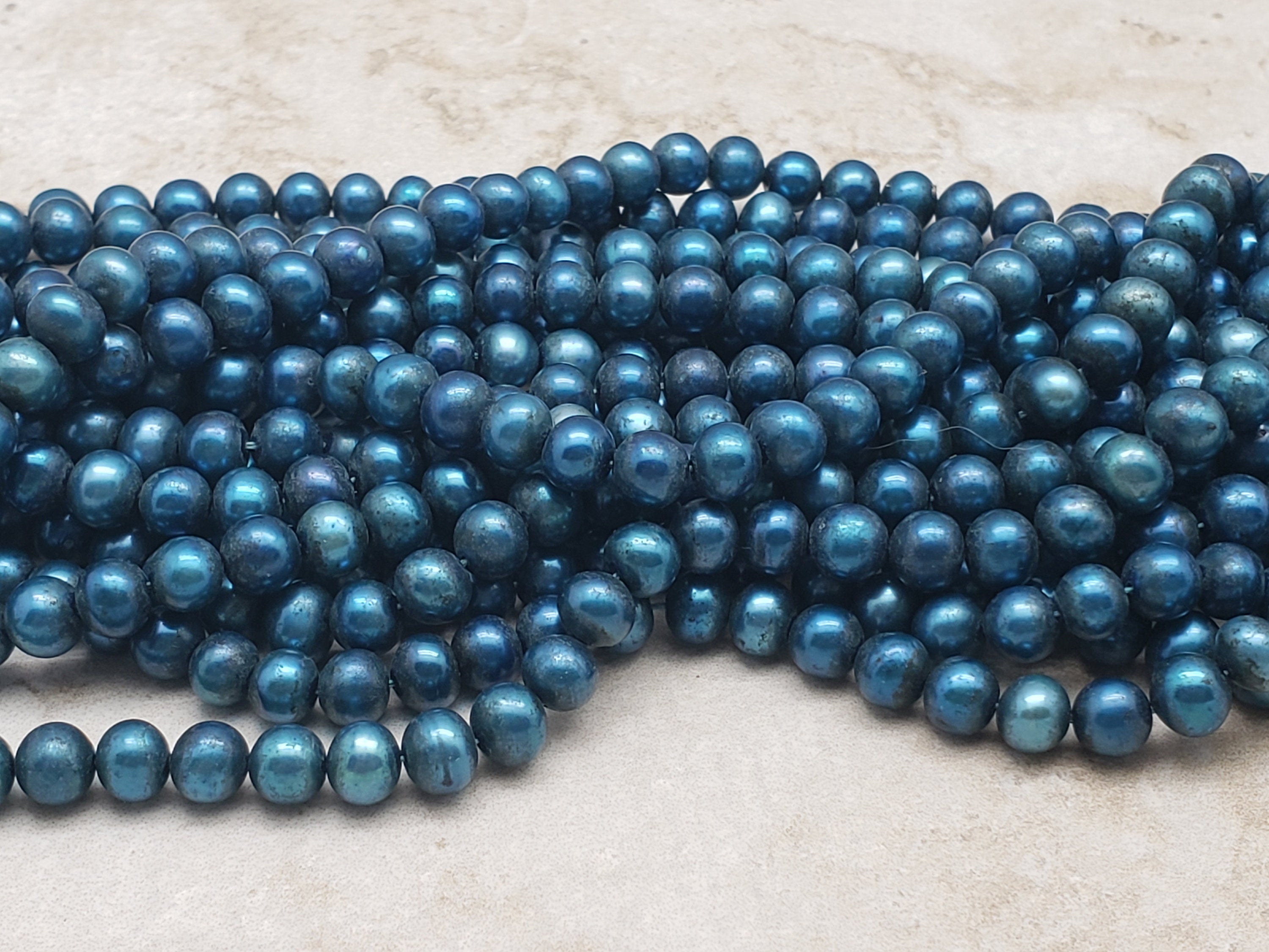 5.5mm to 6mm Potato Pearls, Blue, 15.75 inch Lot 2