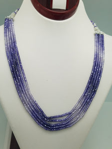 3mm Amethyst Dark CZ Faceted Beaded Necklace - 5 Strands, Gemstone Necklace