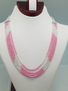 3mm Pink & White CZ Beaded Necklace - 5 Strands, Gemstone Necklace