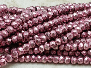 3.5mm to 4mm Pink Pyrite Faceted Rondelles, 13 inch