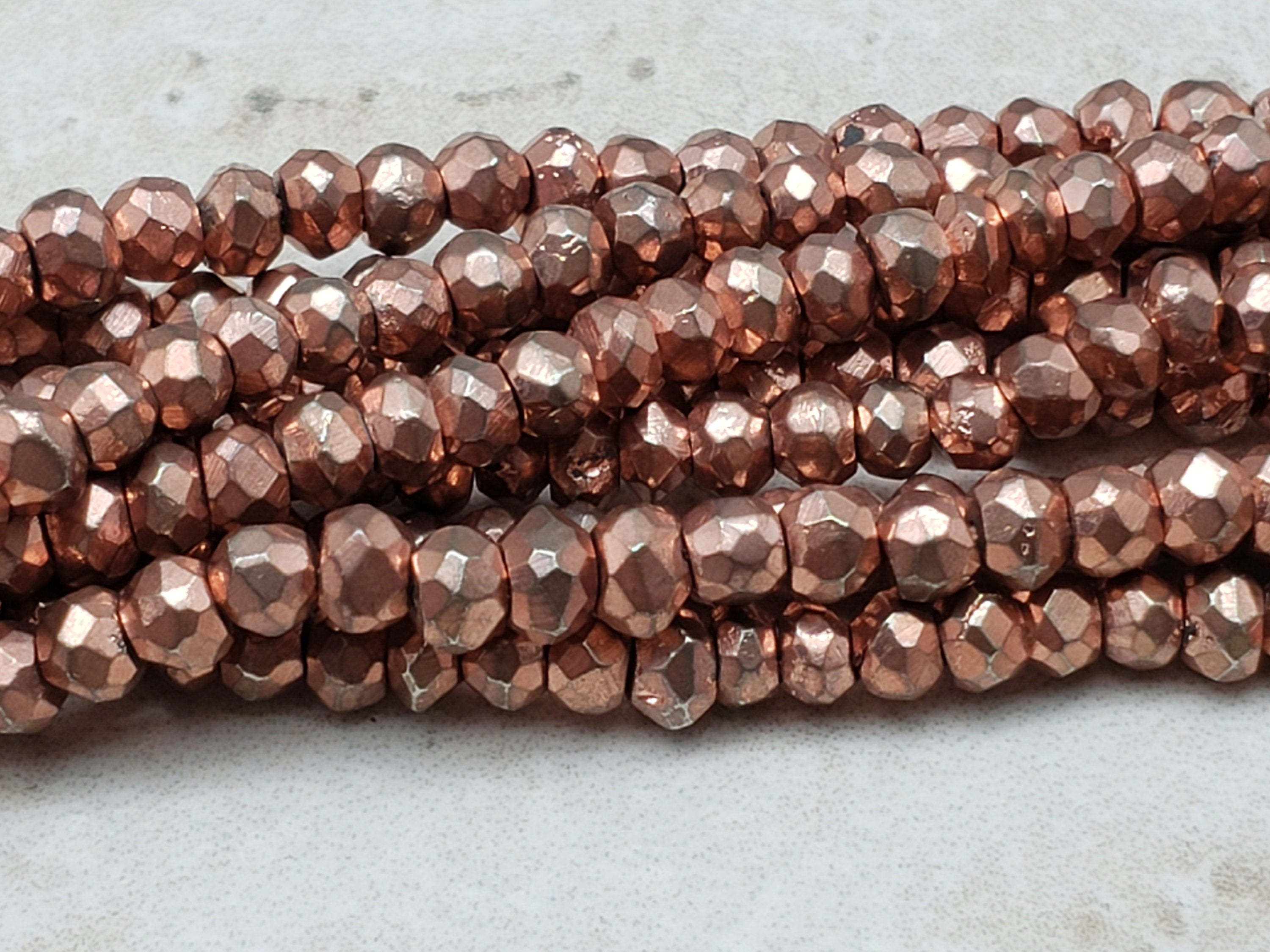 3.5 to 4mm Oxidized Copper Pyrite Faceted Rondelles, 13 inch
