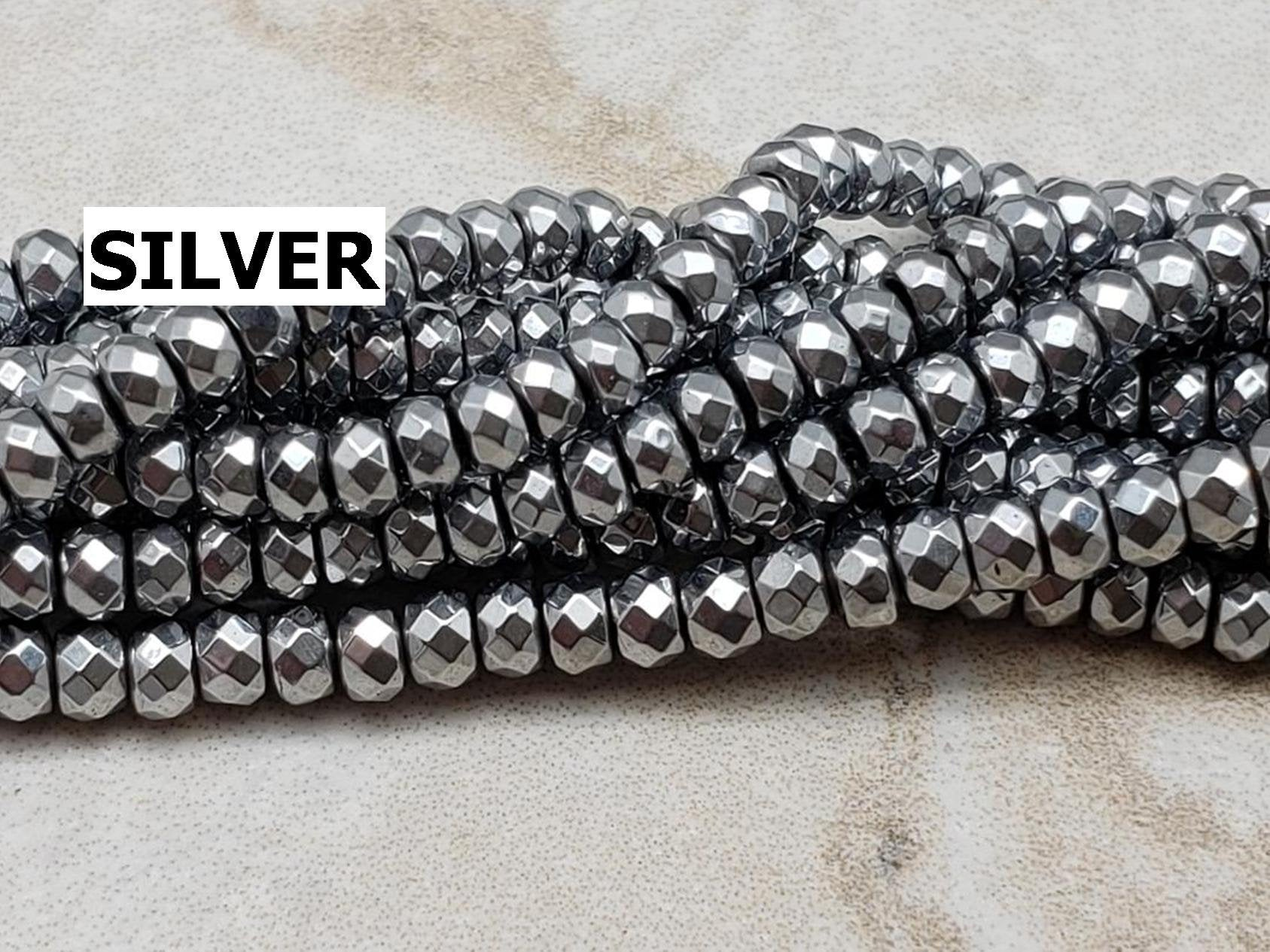 3mm Pyrite / Hematite Faceted Rondelles, 4 Different Colors, 15 inch