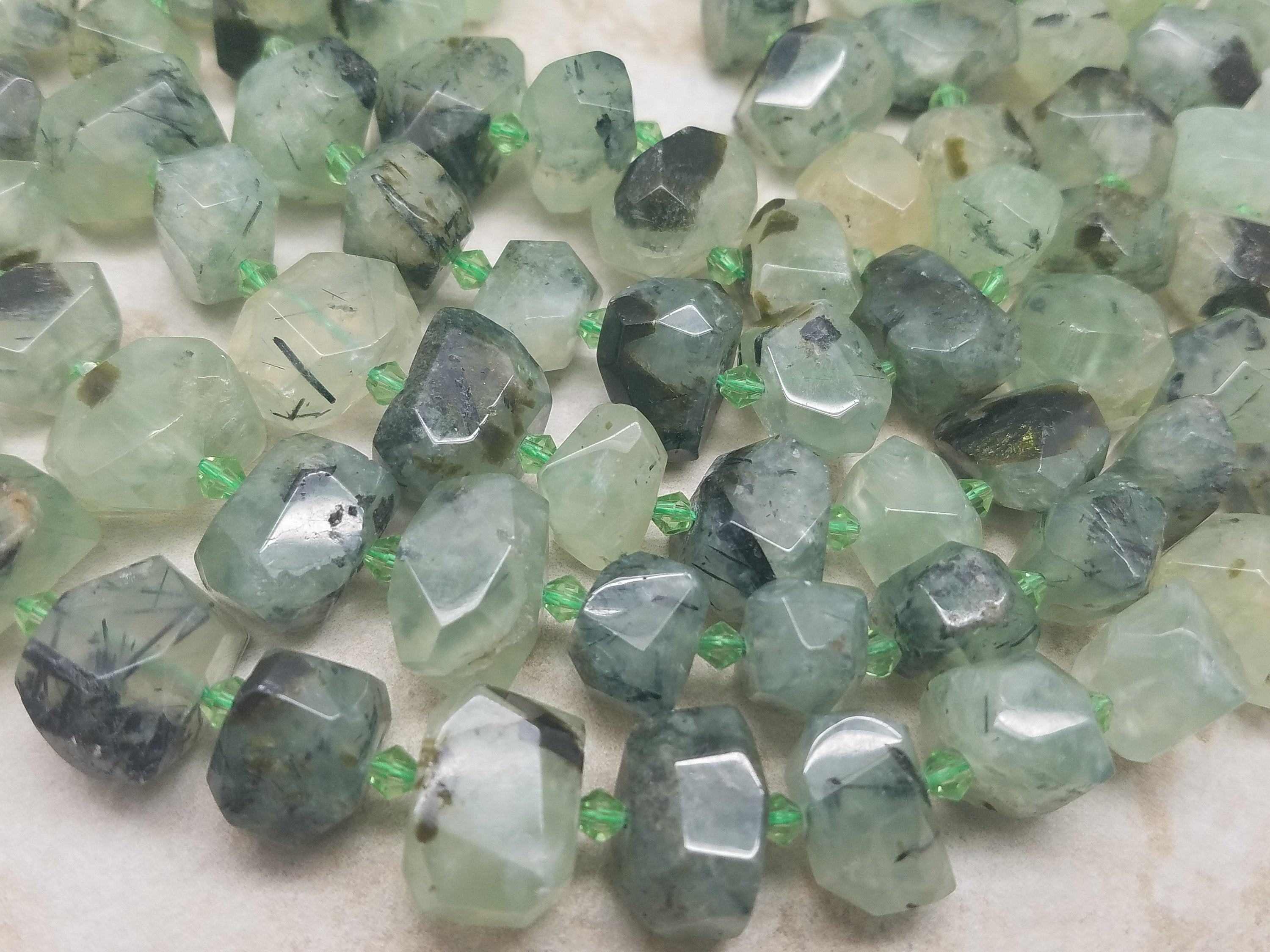 17mm Prehnite Faceted Nuggets, 15 inch