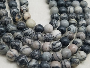 4mm or 6mm or 8mm Black Veined Jasper Polished Round Beads, 15 inch