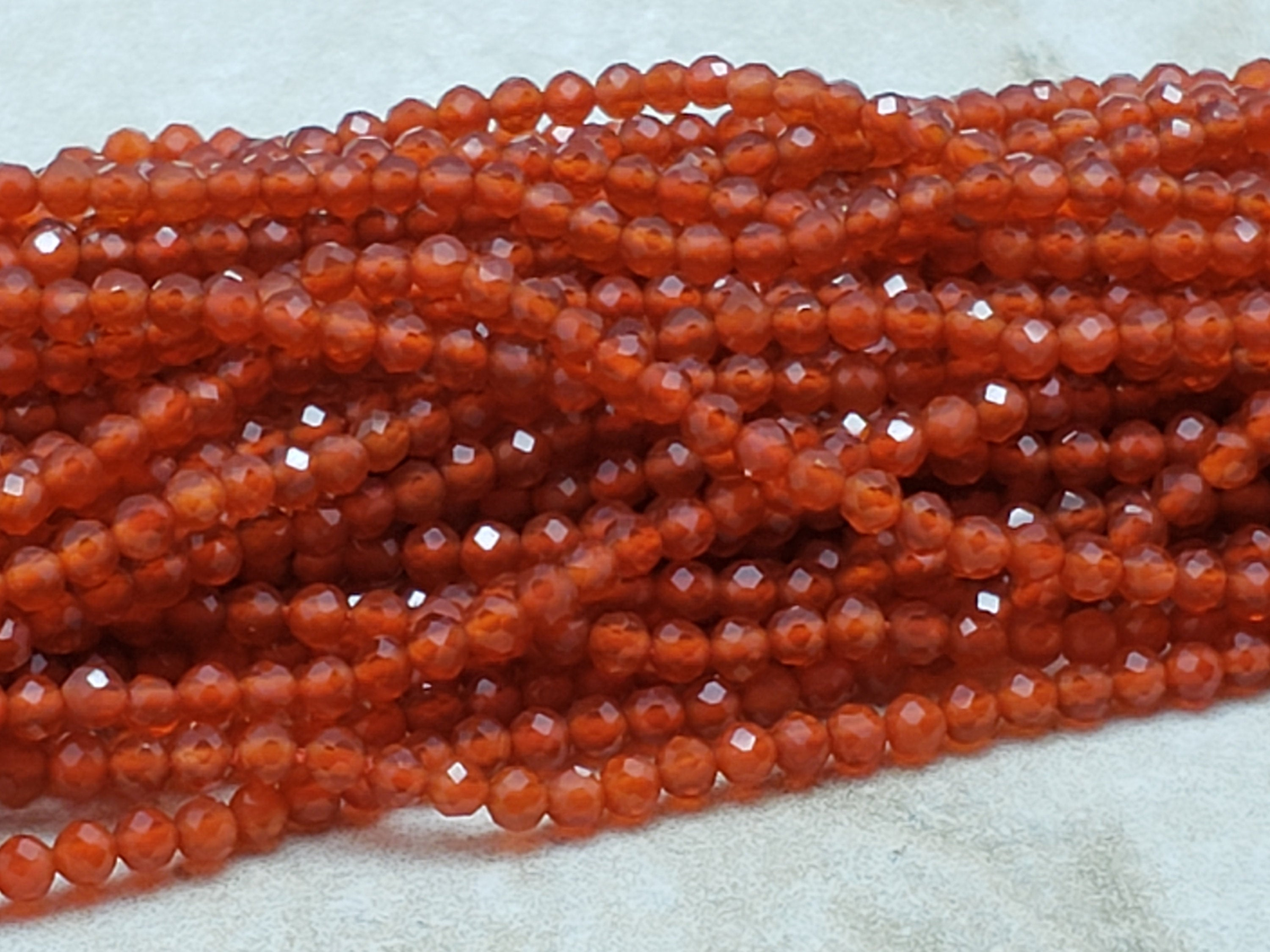 2mm Red Agate Faceted Round Beads, 15 inch