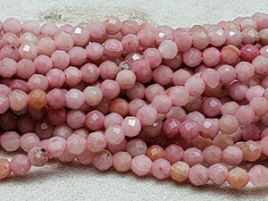 2mm or 3mm Pink Rhodonite Faceted Round Beads, 15 inch