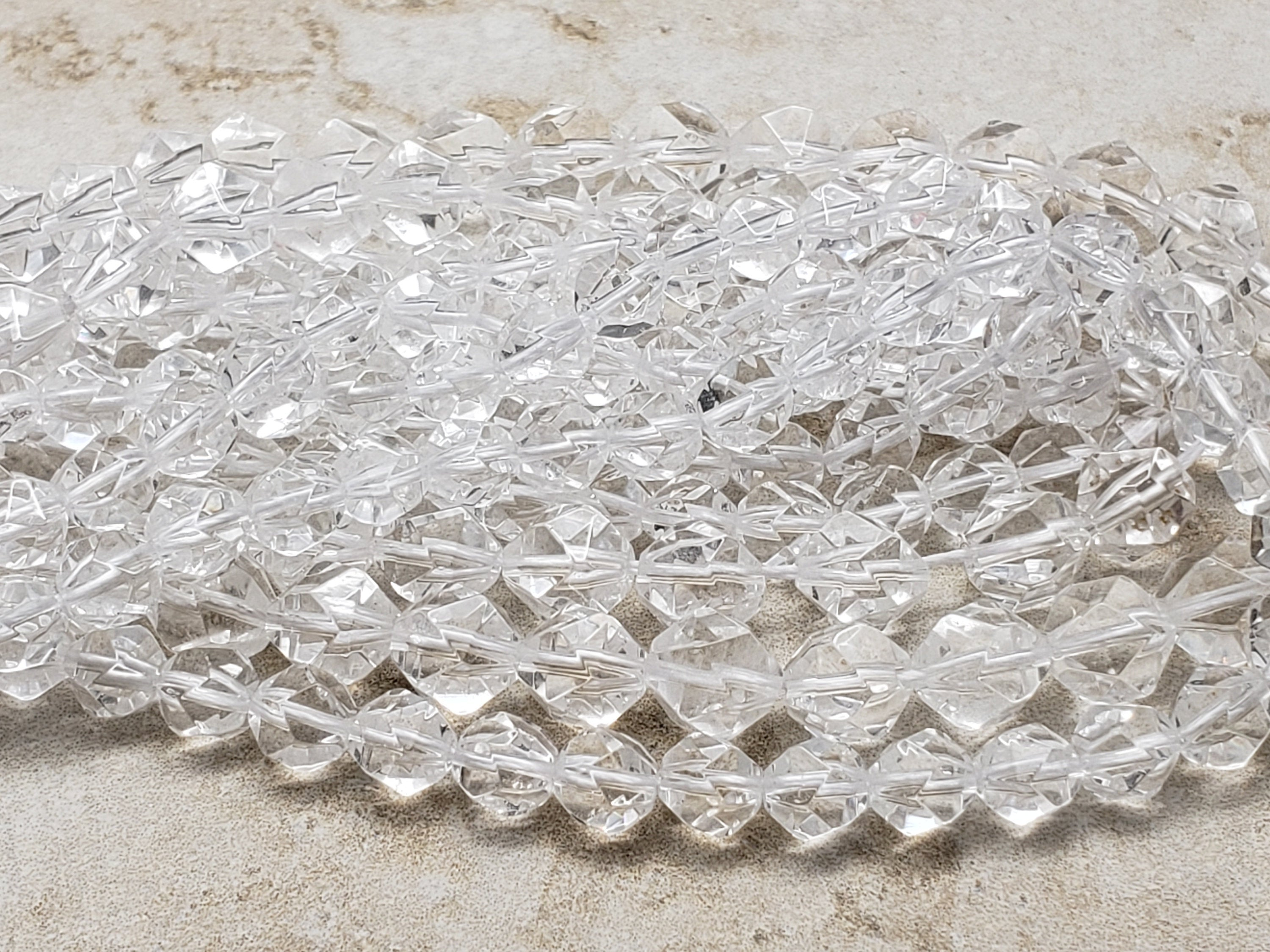 6.5mm or 7.5mm or 9.5mm Star Cut Crystal Quartz Faceted Beads, 14.75 inch