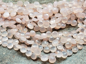 8mm or 9mm Rose Quartz Chalcedony Faceted Heart Briolettes