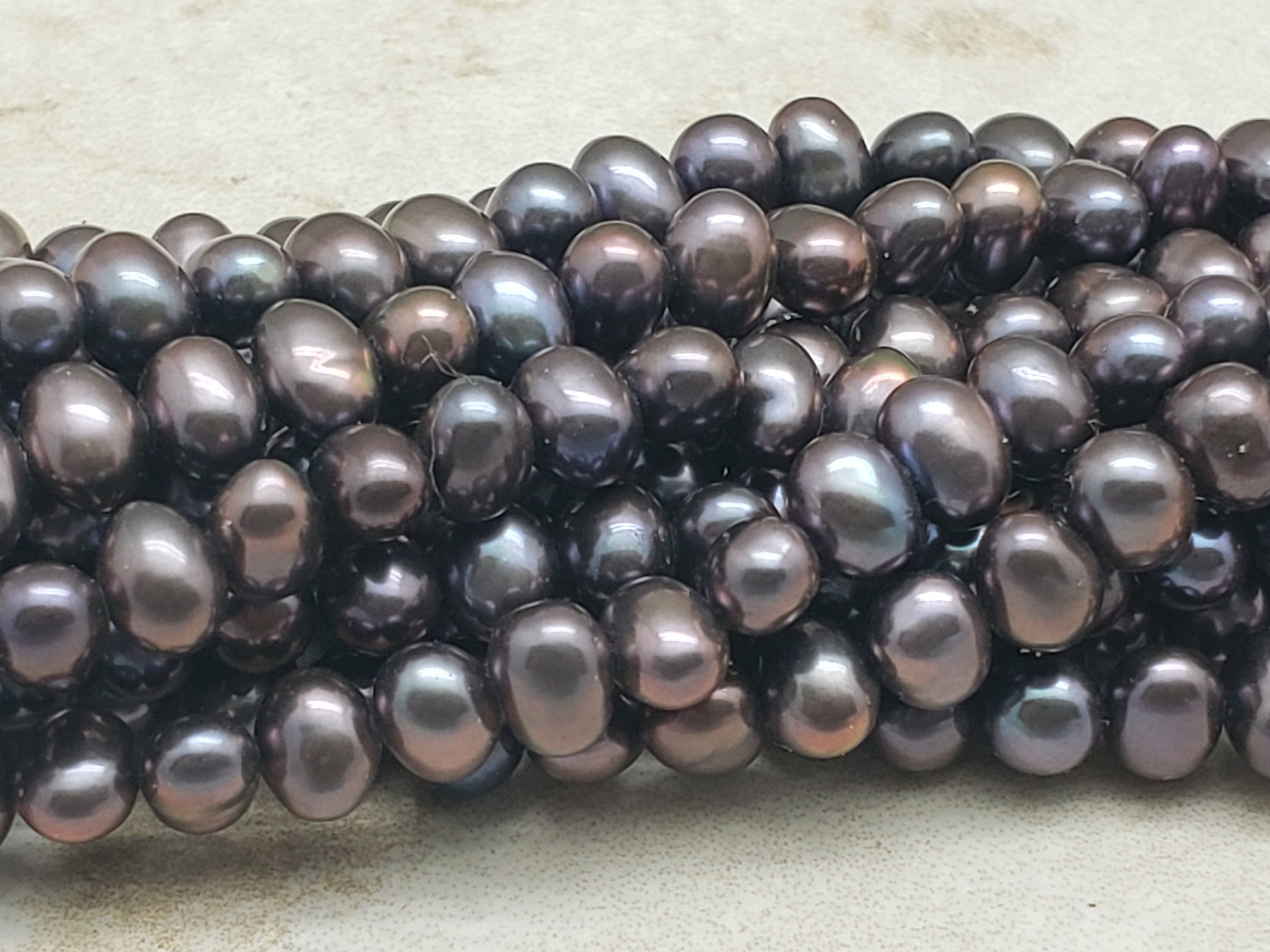 4mm by 5mm Potato Pearls, Bronze Gray, 15.5 inch Lot 4