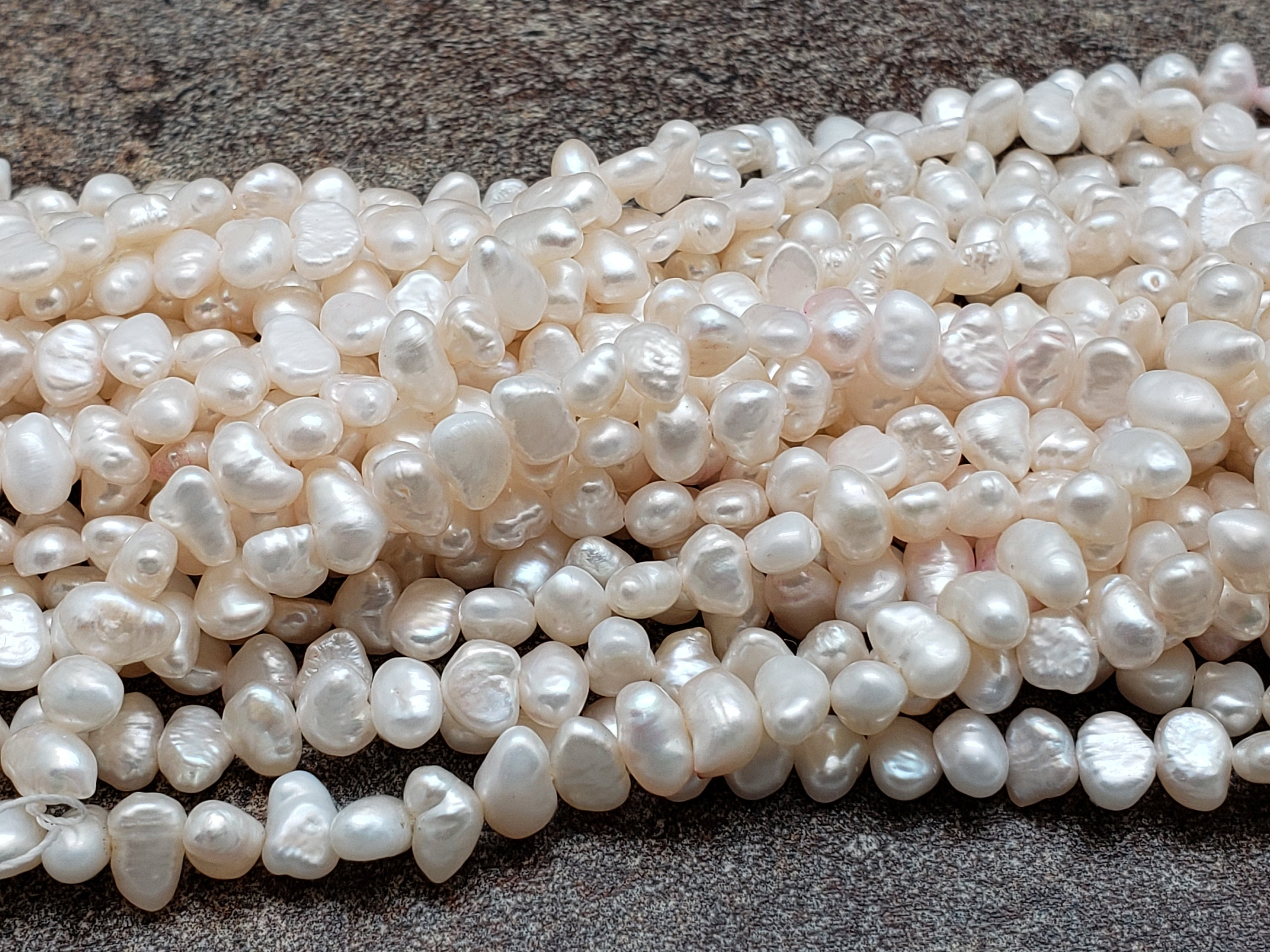 3mm by 5mm Ivory White Pearls, 16 inch Lot C