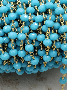 3 Foot Length of 5.5mm Lite Blue Turquoise Hydroquartz Rosary Chain, Brass w/Gold Plating