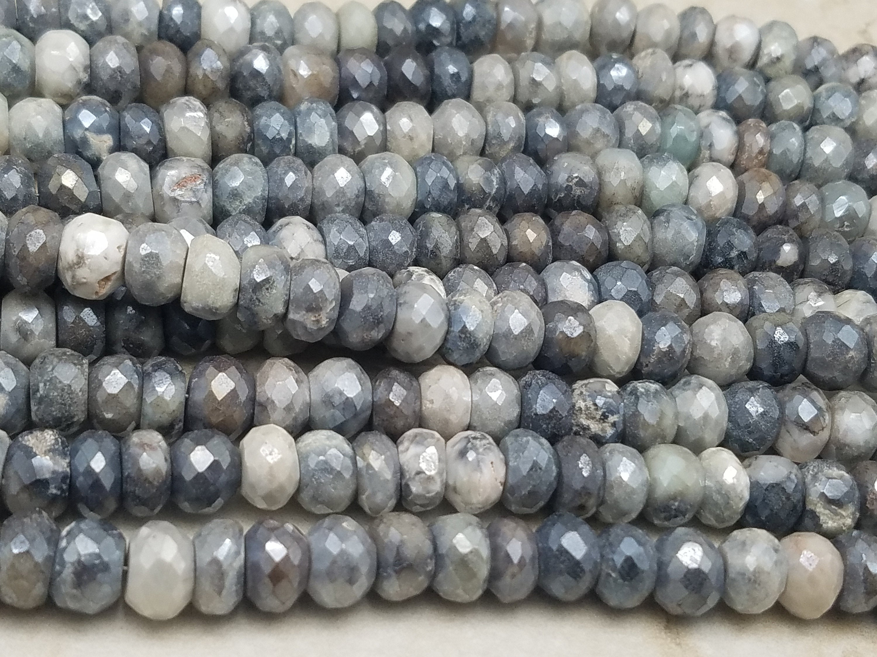 7mm to 9mm Gray Mix Silverite Moonstone Faceted Rondelle Beads, 8 inch