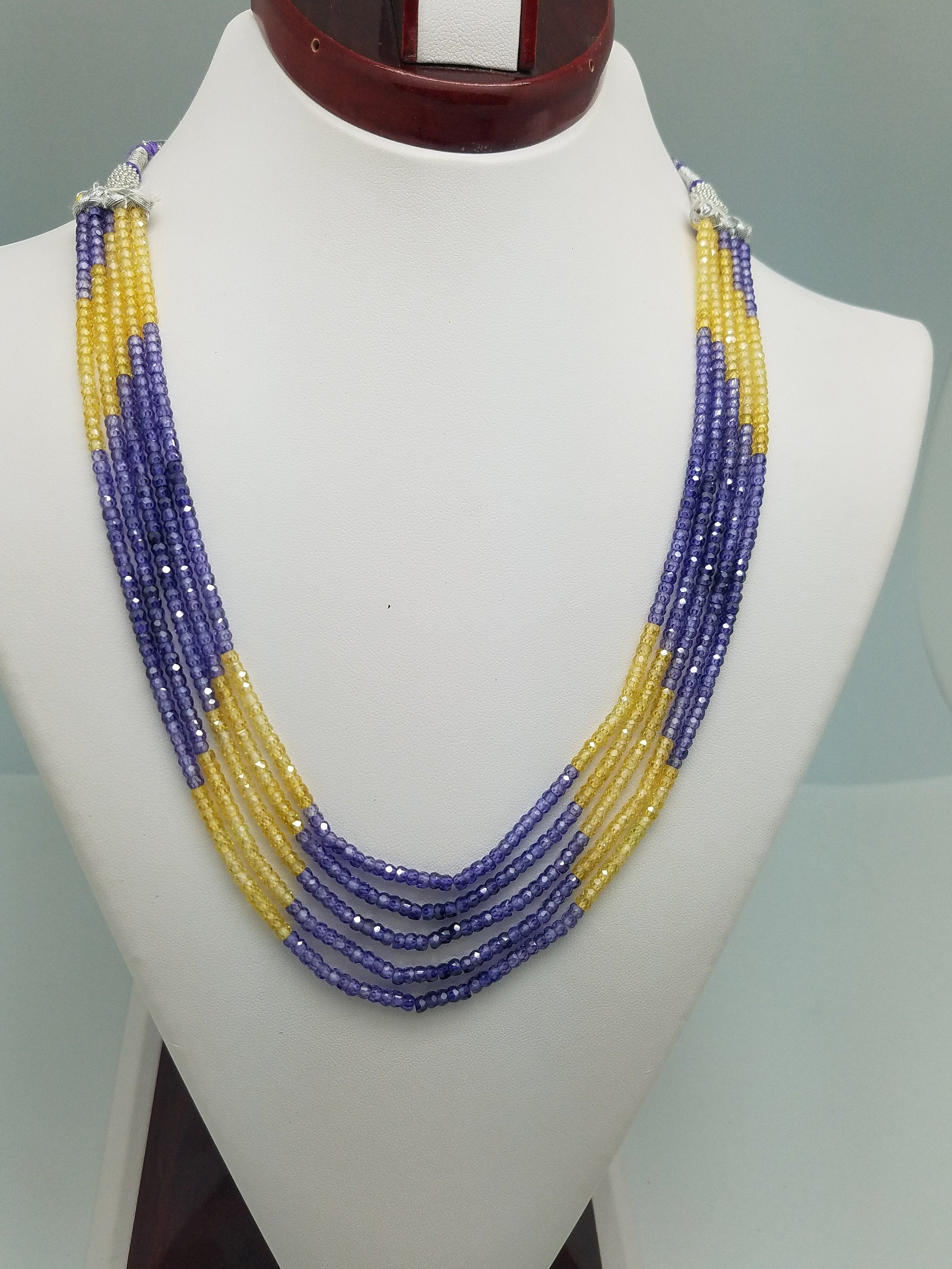 3mm Purple Yellow Shaded CZ Faceted Beaded Necklace - 5 Strands, Gemstone Necklace