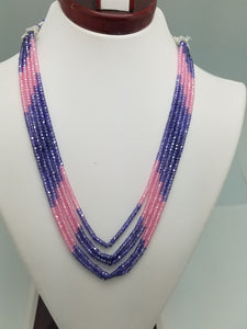 3mm Pink & Purple CZ Faceted Beaded Necklace - 5 Strands, Gemstone Necklace