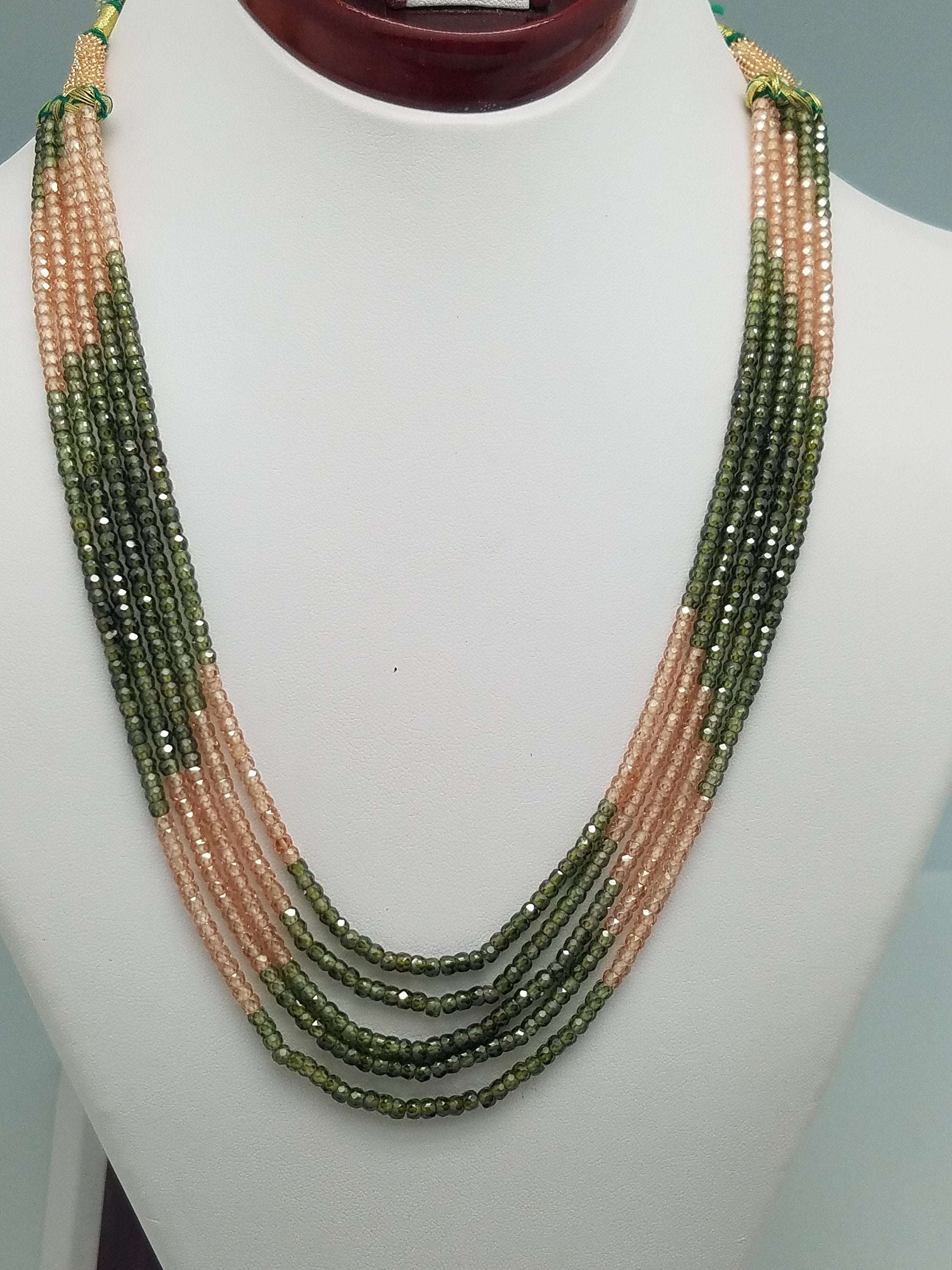 3mm Brown & Green CZ Faceted Beaded Necklace - 5 Strands, Gemstone Necklace