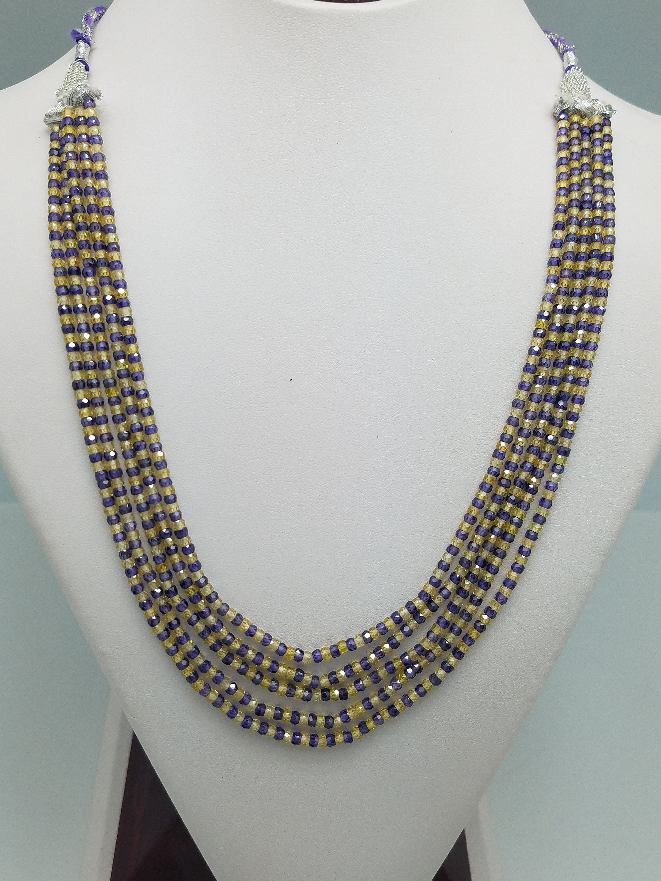 3mm Yellow Purple Mixed CZ Beaded Necklace, 5 Strands, Gemstone Beaded Necklace