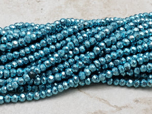 3.5mm to 4mm Blue Pyrite Faceted Rondelles, 13 inch