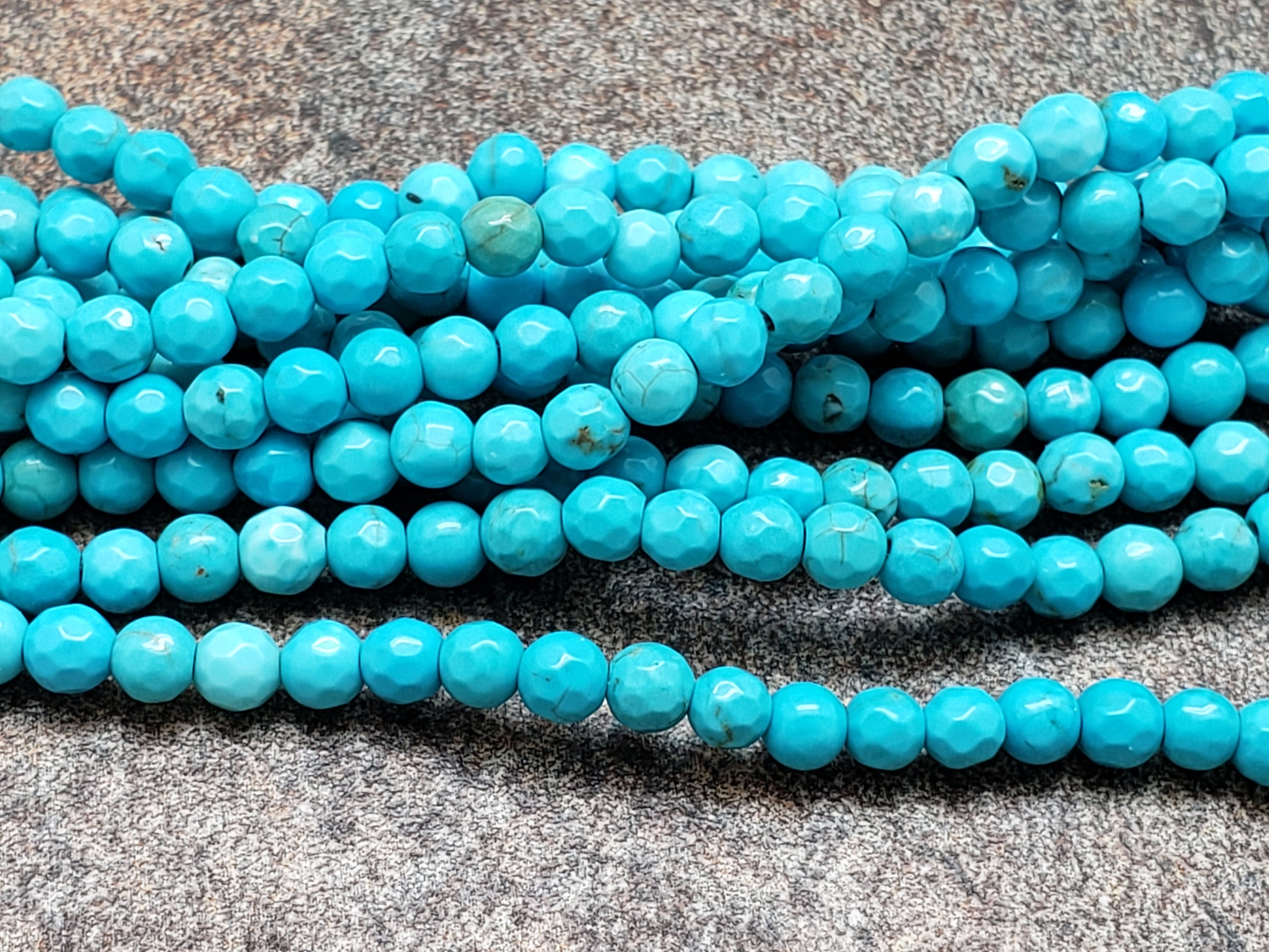 4mm or 6mm or 8mm Green Turquoise Faceted Round Beads, 14 inch