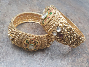 Pair of Bangles, Gold Filigree with Matte Enamel, White and Red CZ Kada, Size 2.8