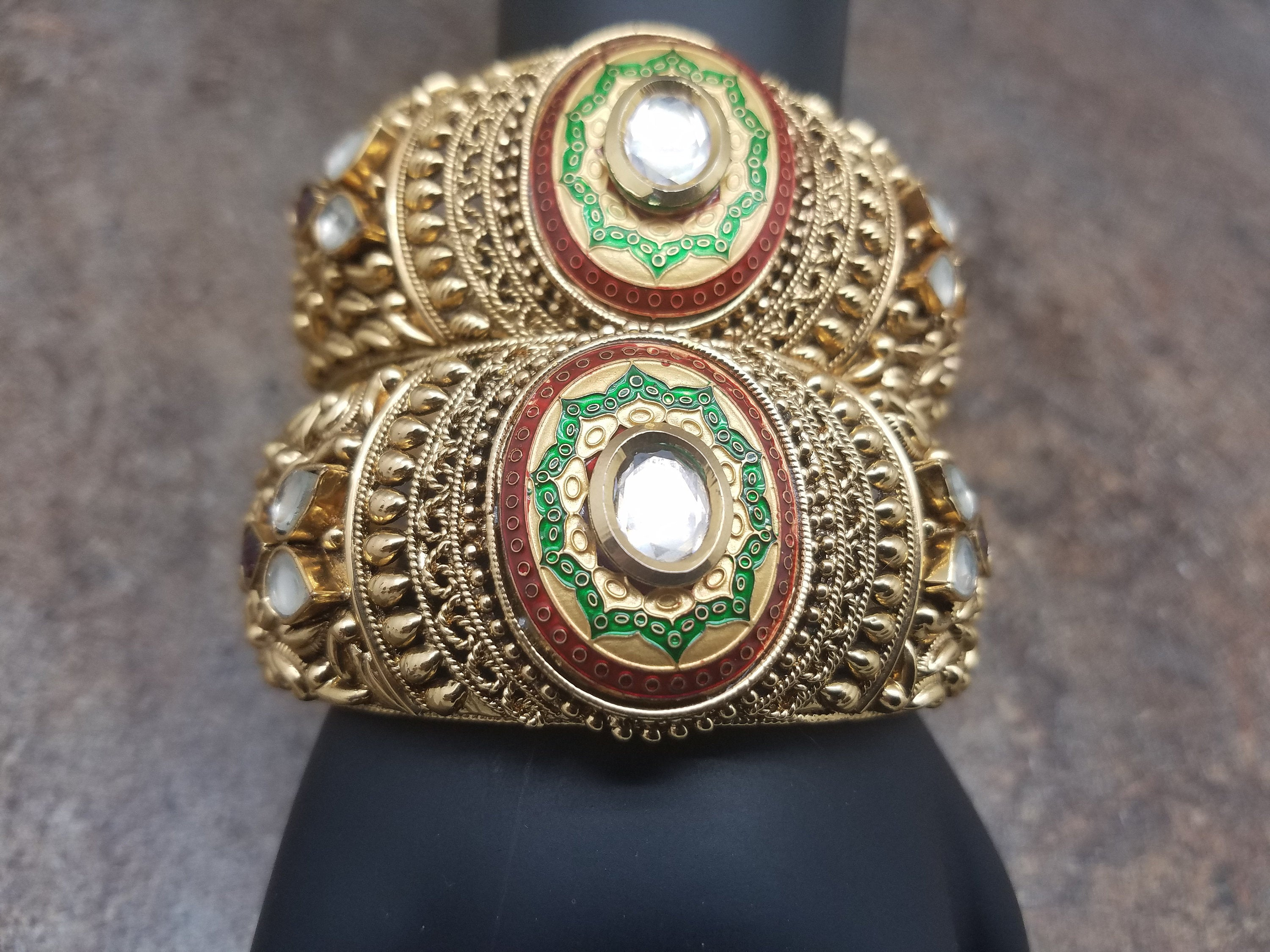 Pair of Bangles, Gold Filigree with Matte Enamel, White and Red CZ Kada, Size 2.6