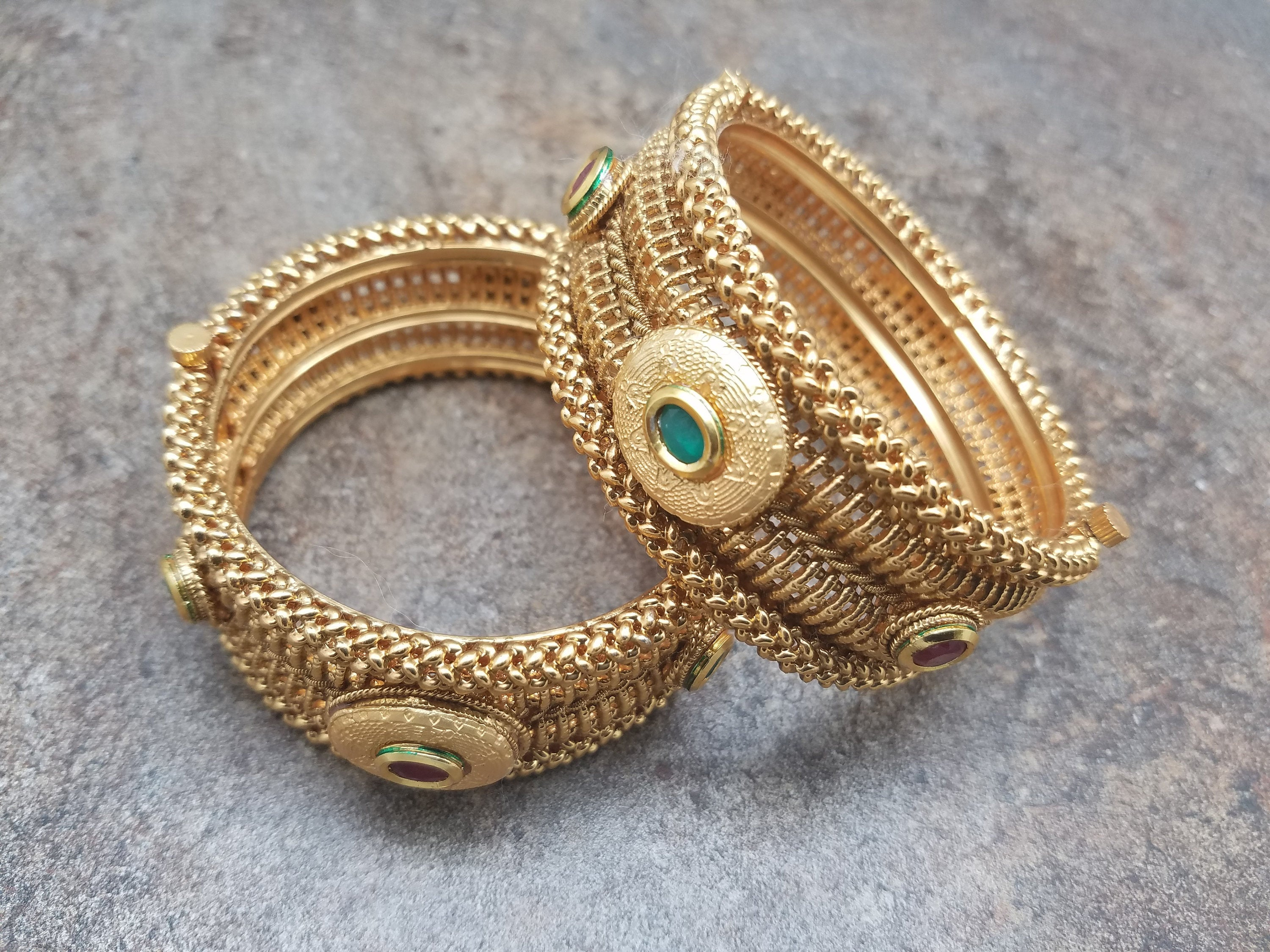 Pair of Bangles, Gold w/Faux Emerald, Red CZ stones Kada, Size 2/6
