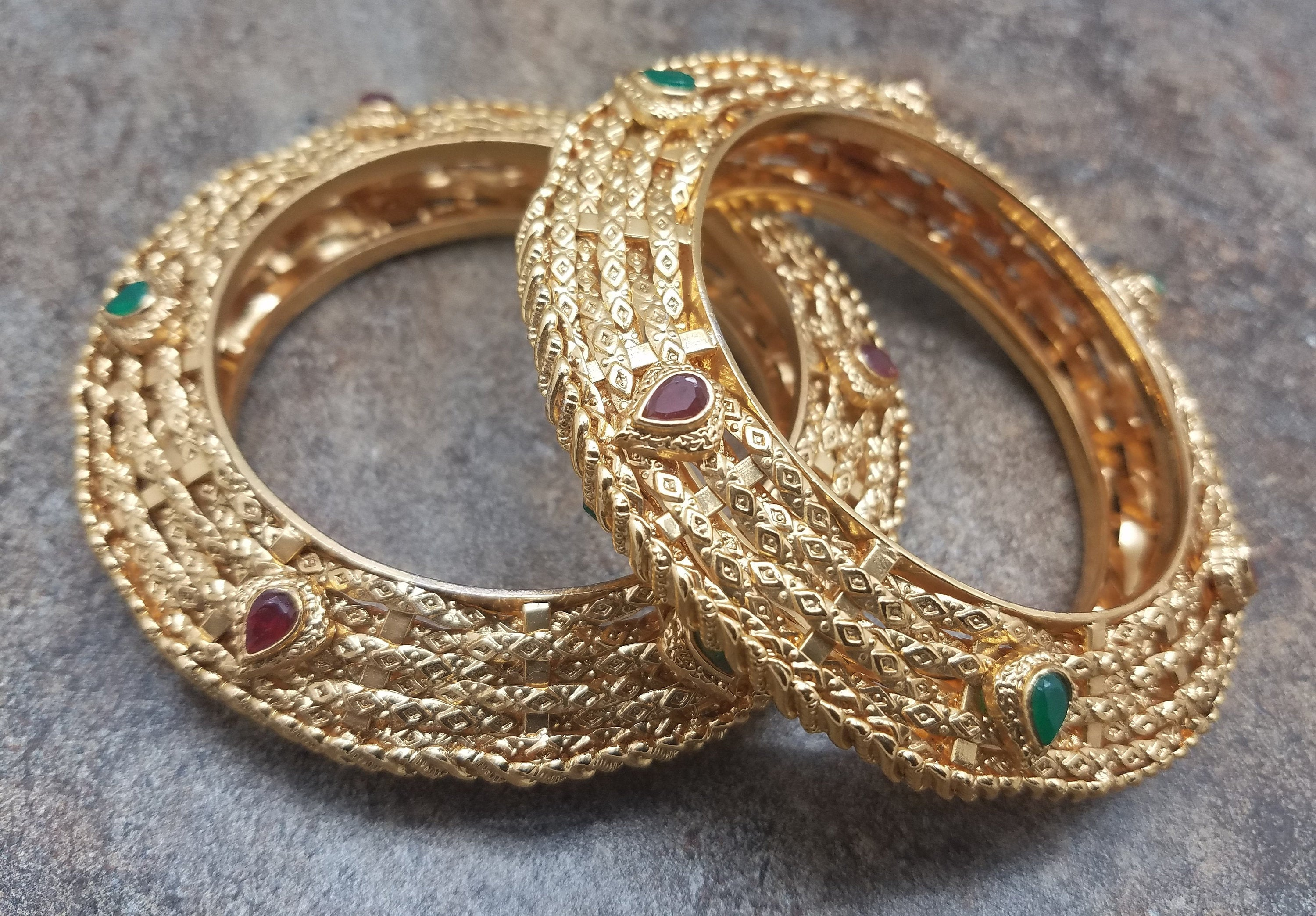 Pair of Bangles, Gold Filigree Kada w/ Faux Emerald, Ruby Stones, Size 2/8