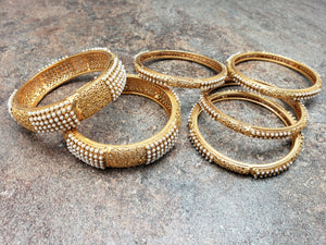 Beautiful Set of 6 Bangles with Pearls and Fine Filigree Finish, Size 2-4, 2-6, or 2-8