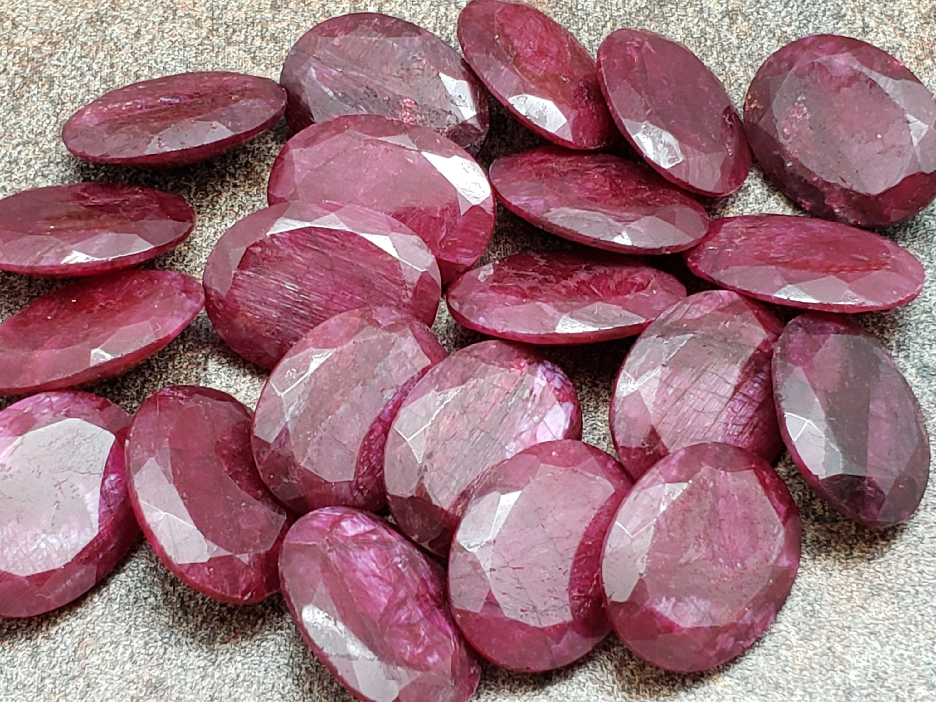 20mm by 15mm Ruby Faceted Oval Loose Stone