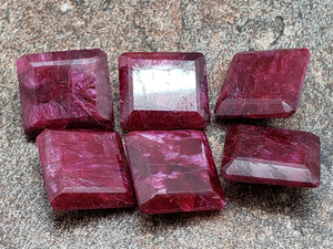 14mm by 15mm Ruby Faceted Square / Rectangle Loose Stone