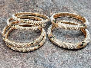 Set of 6 Beautiful Pearl Gold Bangles with Vibrant Peacocks, Size 2/7