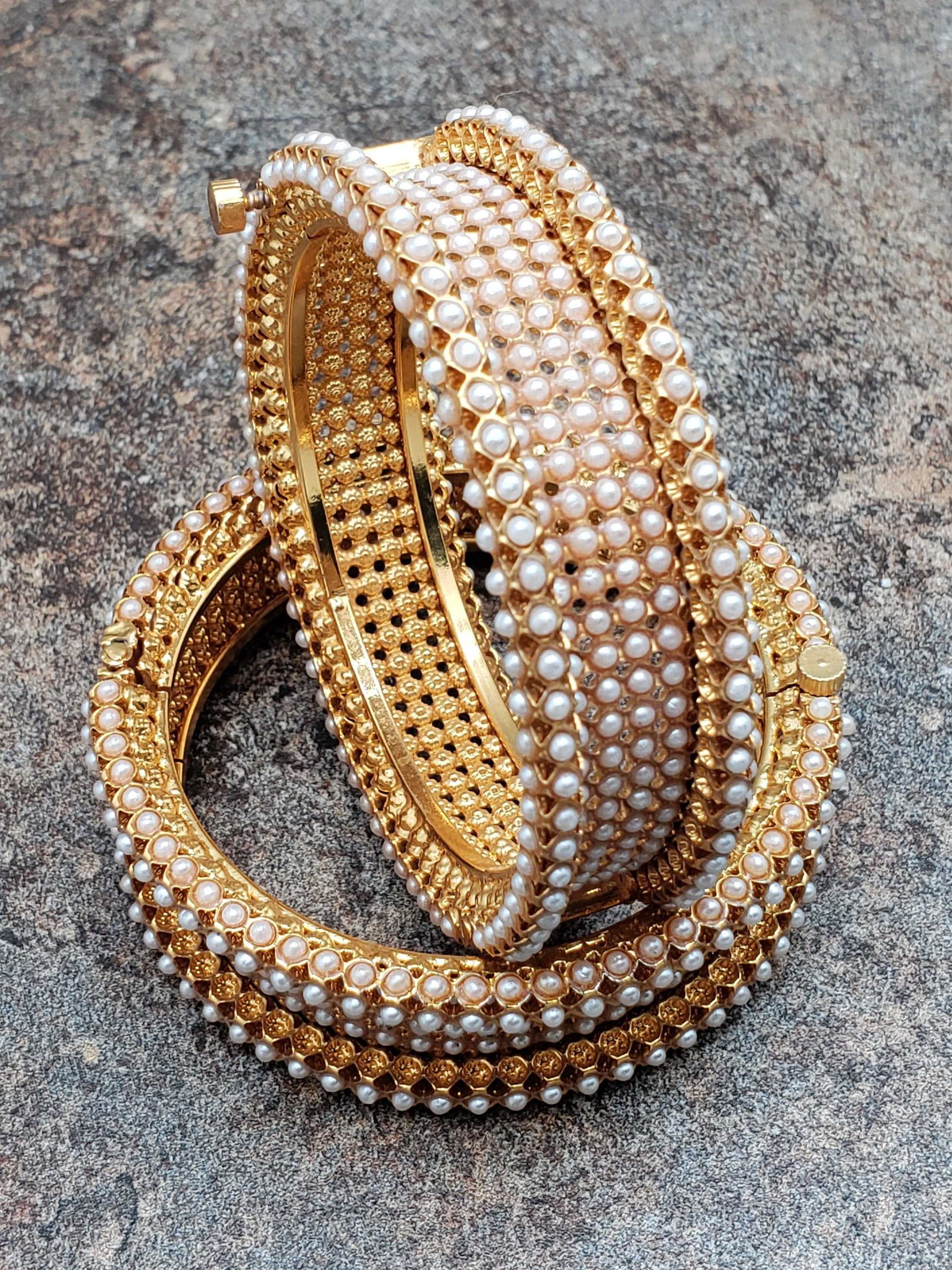 Pair of Bangles, Gold Kada with Pearls, Size 2.4, Size 2.6, or Size 2.8