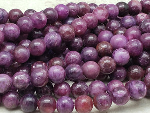 4mm or 6mm or 8mm Lepidolite Polished Round Beads, 15 inch