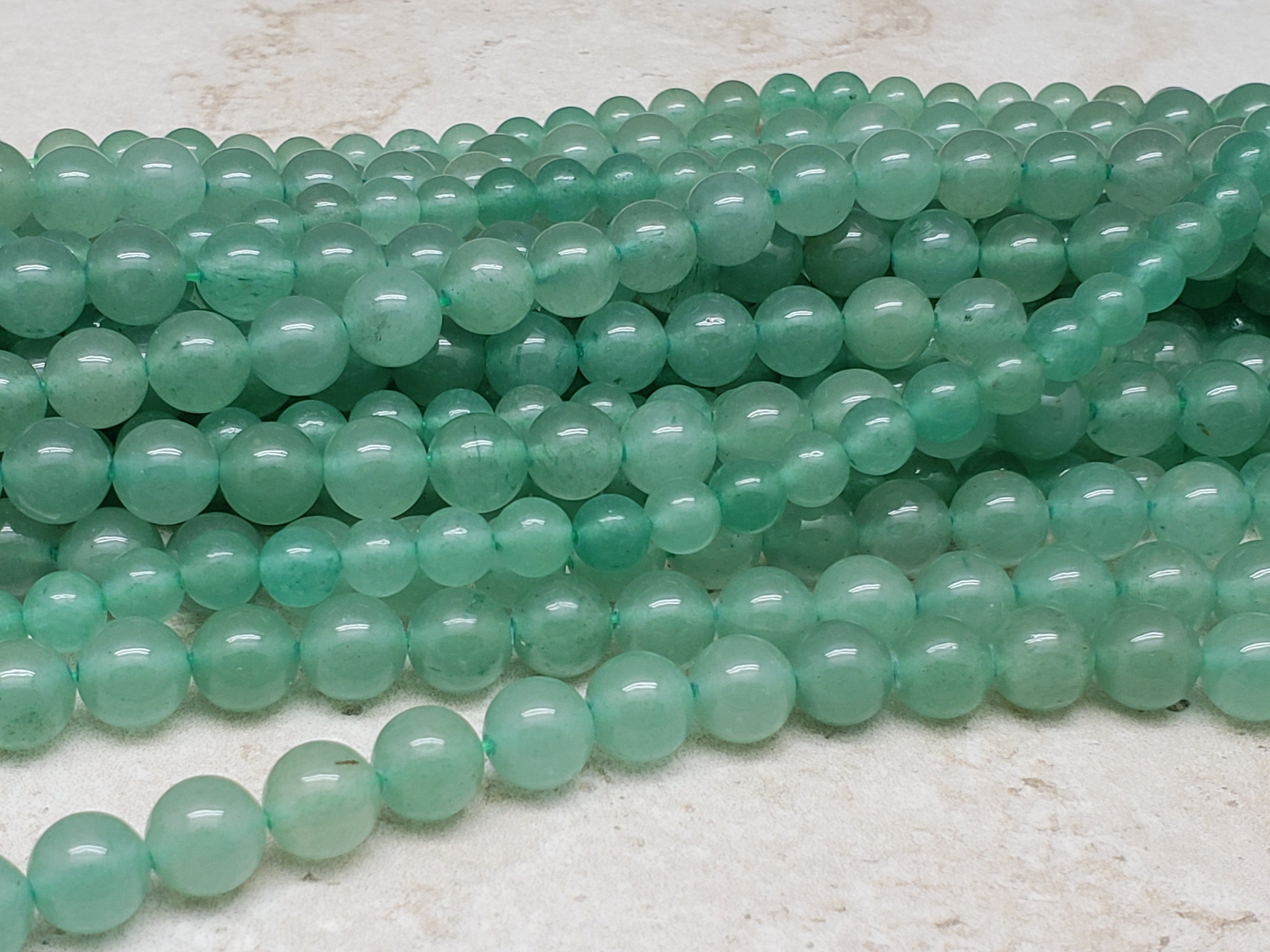4mm or 6mm or 8mm Green Aventurine Polished Round Beads, 15.5 inch