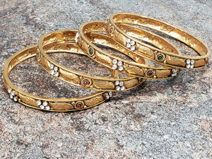 Set of 4 Bangles, Gold Bangles with Crystal and Faux Ruby and Emerald Stones, Size 2.4 or Size 2.6