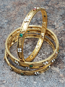 Set of 4 Bangles, Gold Bangles with Crystal and Faux Ruby and Emerald Stone, Size 2.8