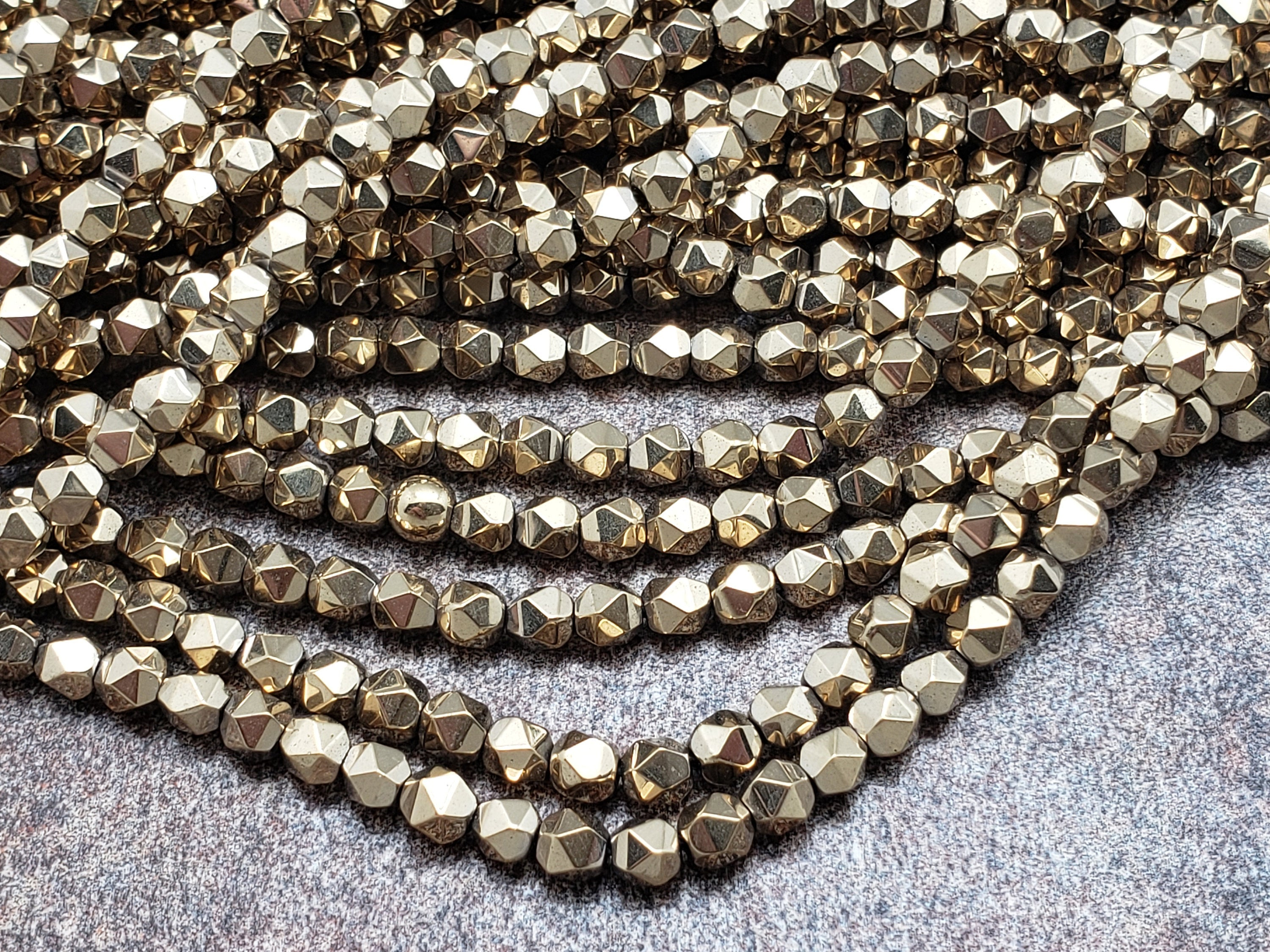 4mm by 4mm Pyrite Color Diamond Cut Faceted GLOSS Beads, 15.5 inch