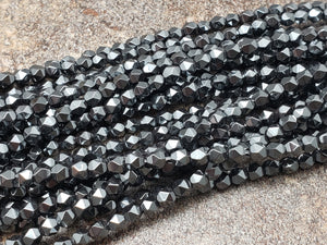 4mm by 4mm Black Rhodium Diamond Cut Faceted GLOSS Beads, 15.5 inch