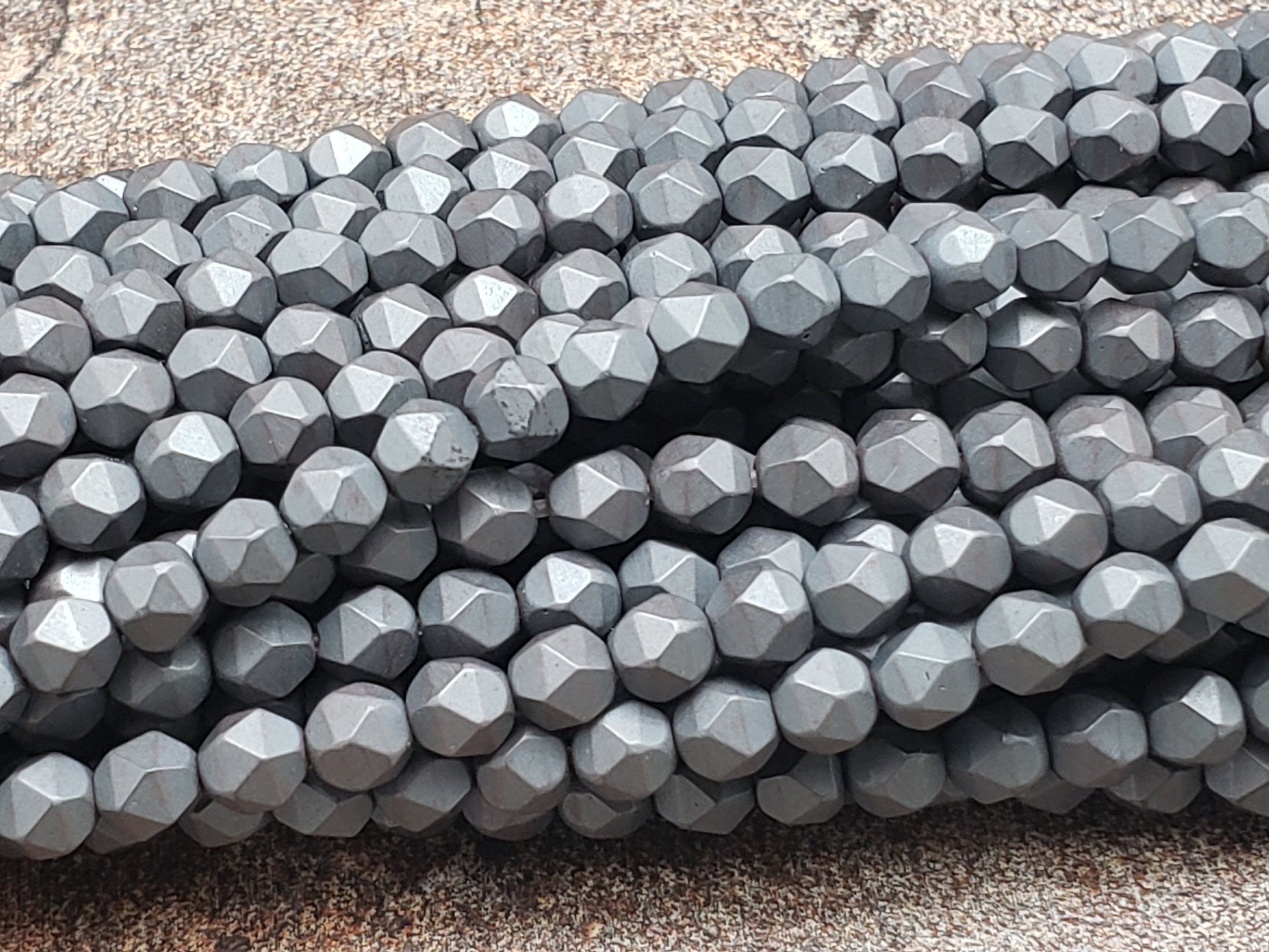 4mm by 4mm Black Rhodium Diamond Cut Faceted MATTE Beads, 15.5 inch