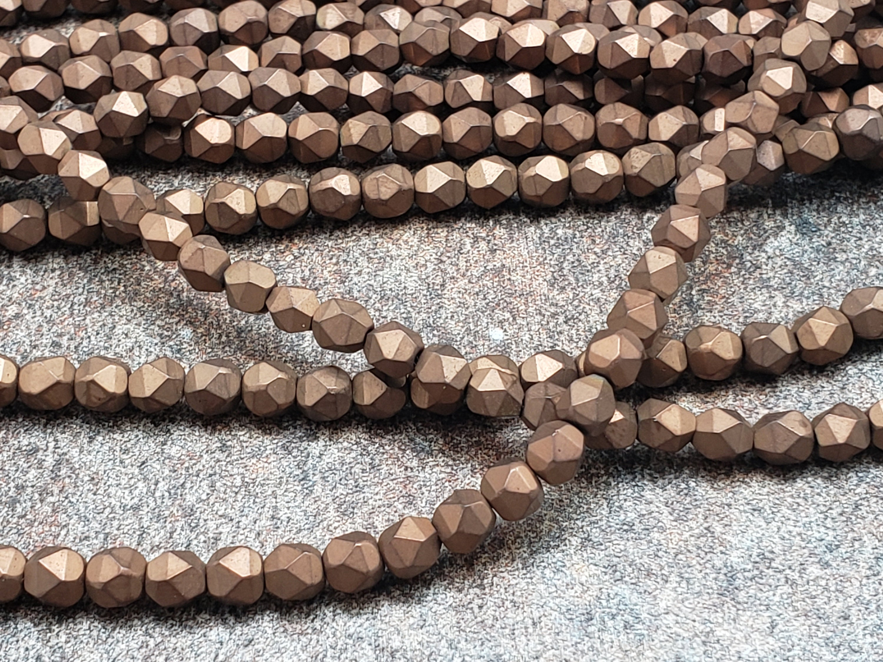 4mm by 4mm Copper Diamond Cut Faceted MATTE Beads, 15.5 inch