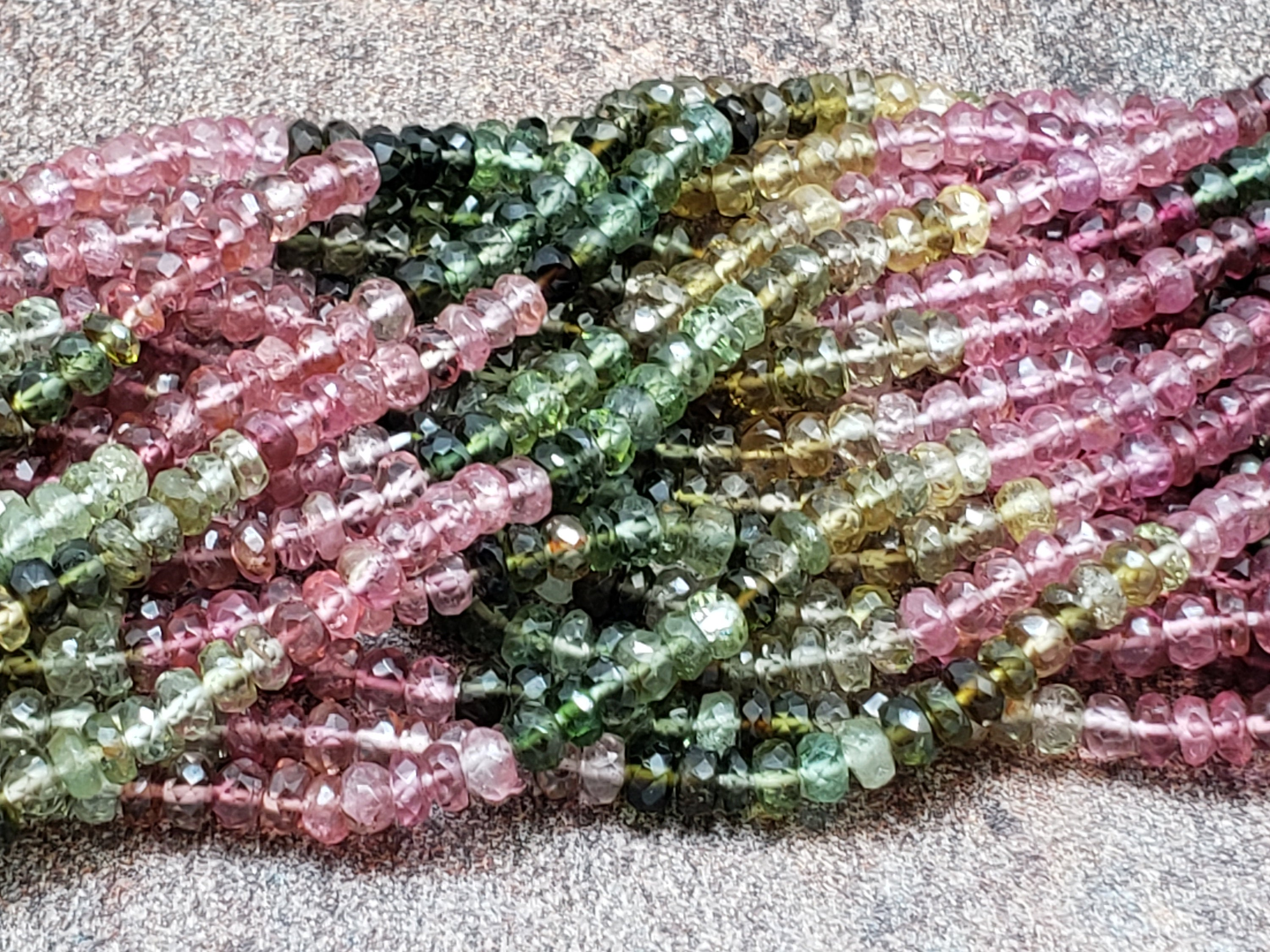 3.3 to 3.5mm Watermelon Tourmaline Faceted Rondelles, A Grade, 13 inch Lot 7G