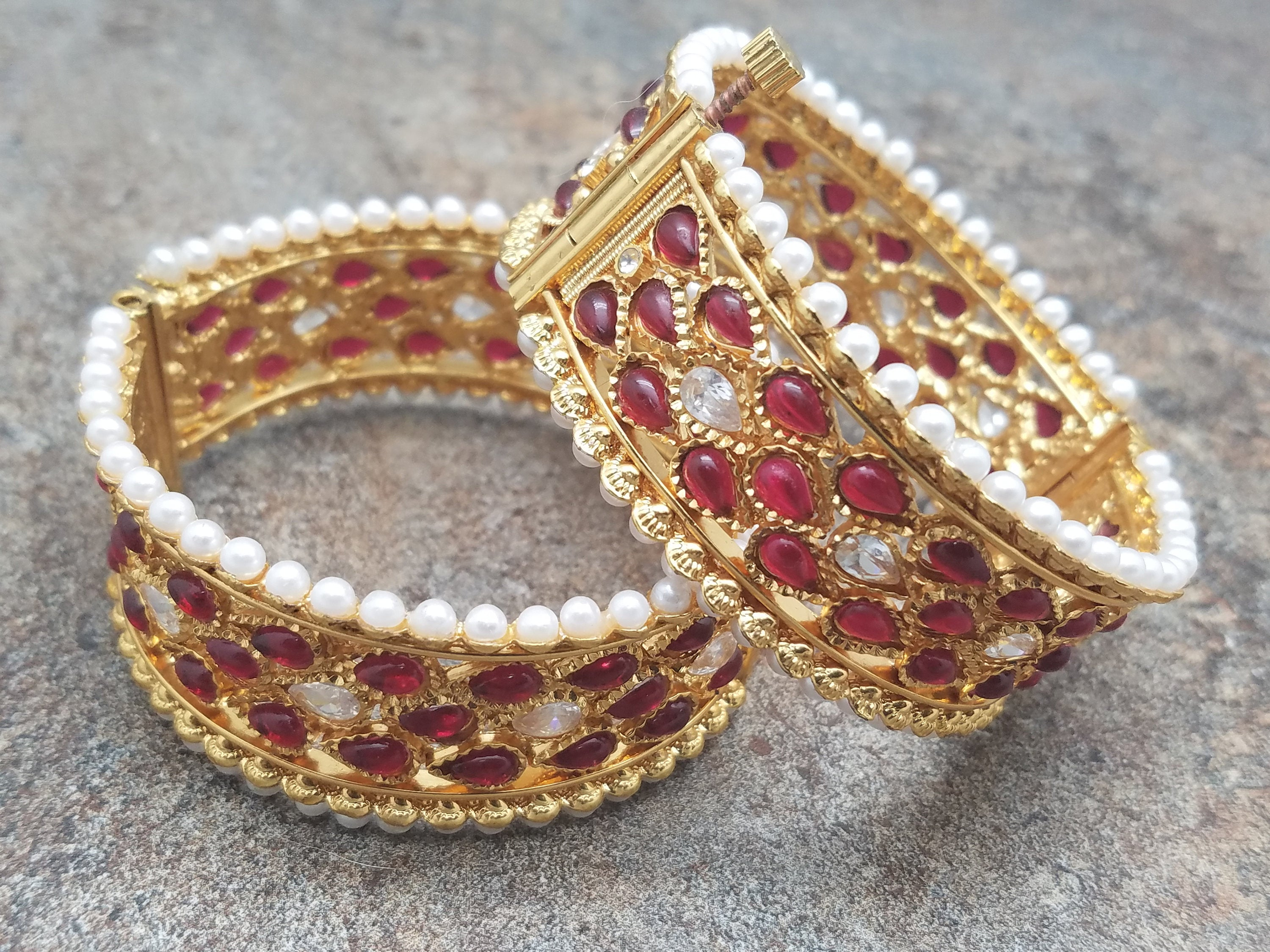 Pair of Bangles, White Pearl & Faux Ruby Tear Drop Kada,Size 2/6