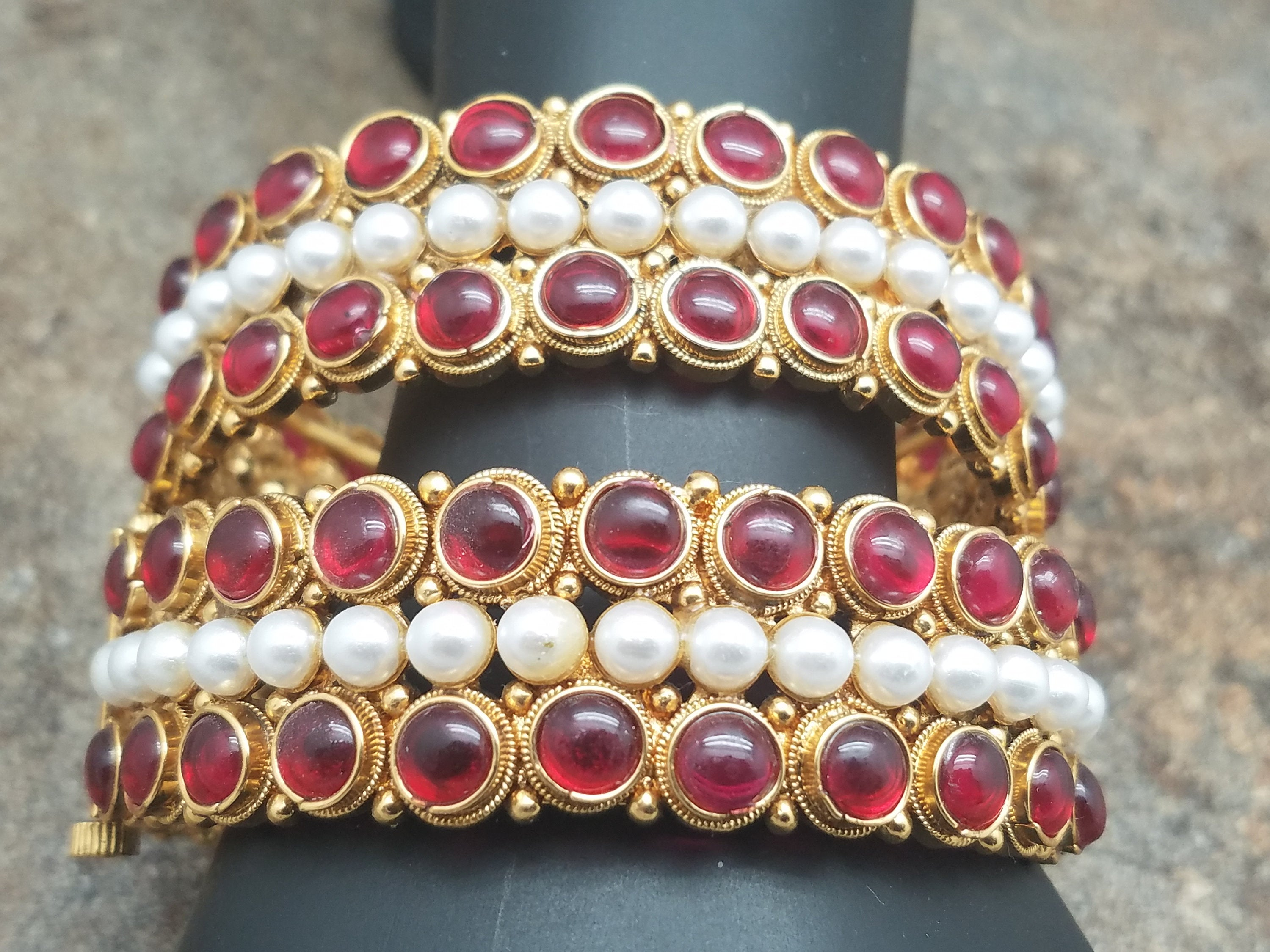 Pair of Bangles, White Pearl & Faux Ruby Gold Kada, Size 2-6 or 2-8