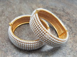 Pair of Bangles, White Pearl Gold Kada, Size 2/8