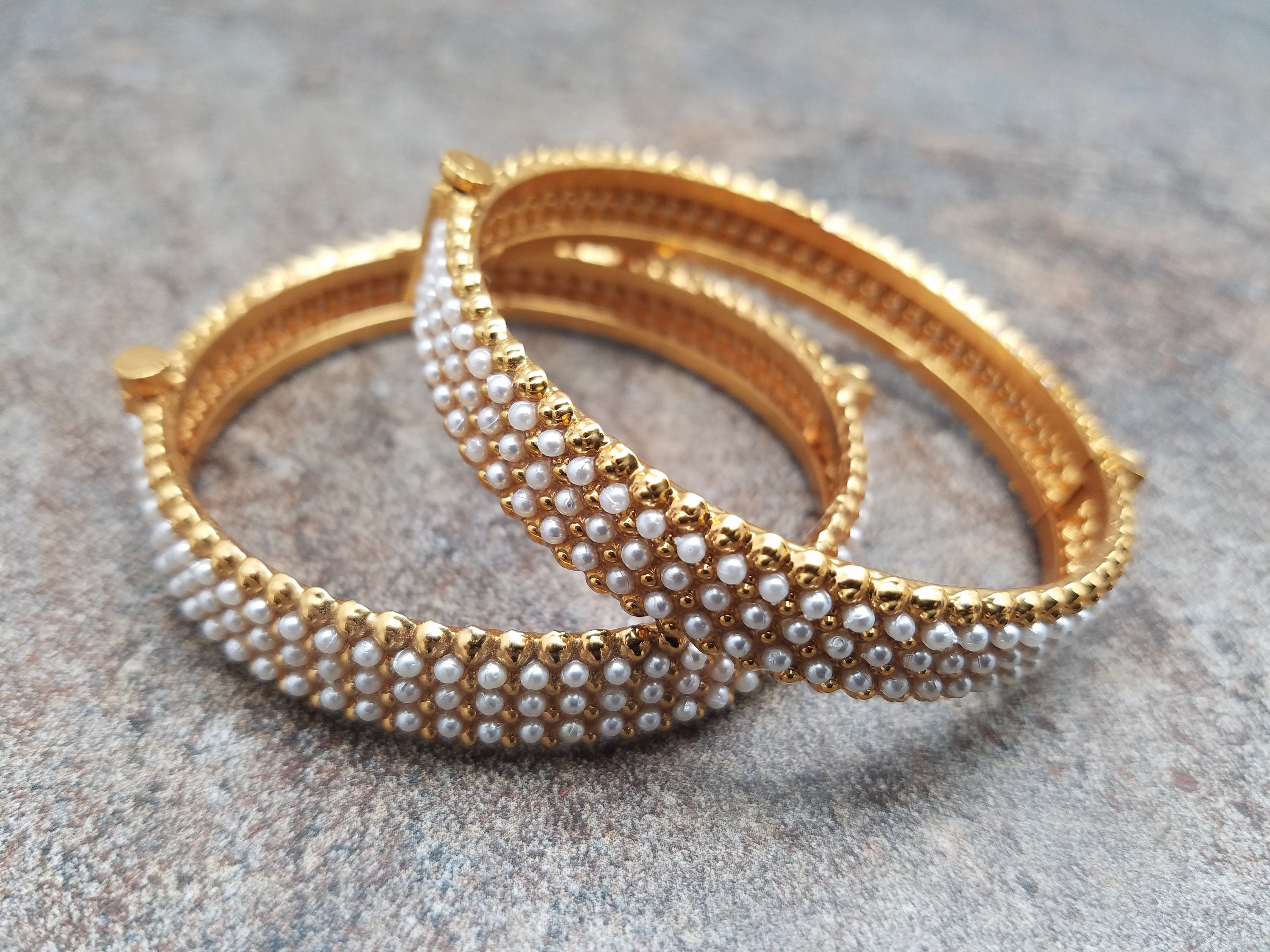 Pair of Bangles, White Pearl on Gold Kada, Size 2.4 or Size 2.6