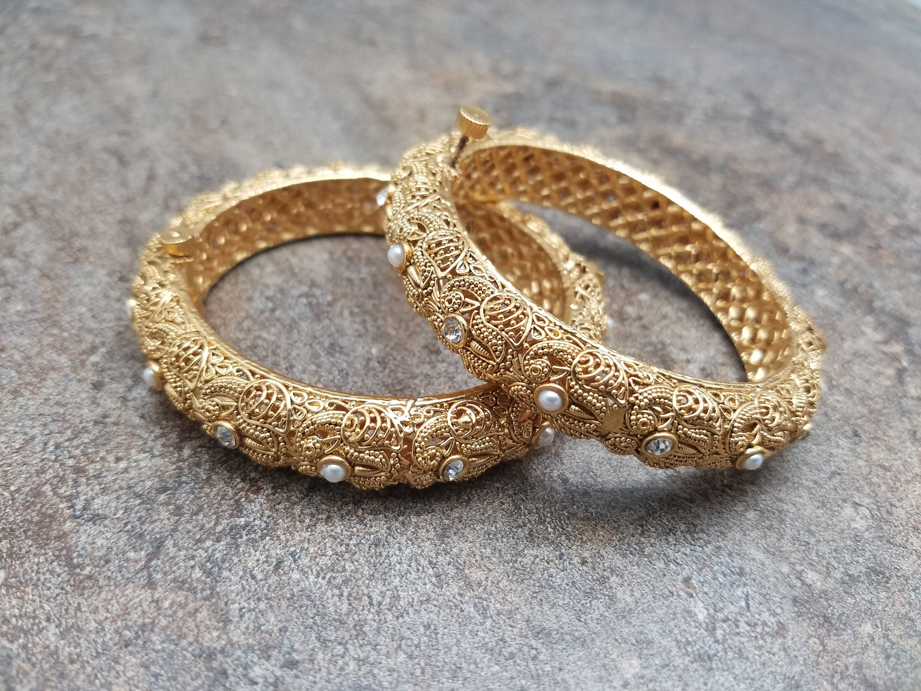 Pair of Bangles, White Pearl,White CZ Gold Filigree Kada, Size: 2/4