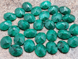 10mm by 8mm Emerald Faceted Oval Loose Stone