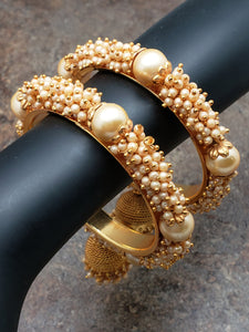 Pair of Bangles, Clustered Pearl on Gold Kada with Ornamental Bell, Size 2/4 or Size 2/8