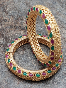 Pair of Bangles, Matte Gold Finish Kada with Faux Ruby and Emerald Stones, Size 2.8